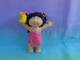 Vintage 1984 Cabbage Patch PVC Girl Figure Black Hair Wrapped in Towel & Duck - $2.72