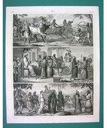 PEOPLE Costume Assyria Egypt Persia China Libya - 1844 Antique Print Eng... - $9.72