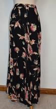New Chaps Ralph Lauren Skirt A-Line Long Modest Black Floral Pull-On Medium - $19.62