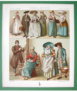 HOLLAND Costume Fishermen Friesians Batavians - COLOR Litho Print by A. ... - $9.45