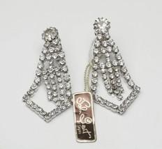 Vintage John Grant Long Dangle Rhinestone Statement Costume Jewelry Earr... - $35.00