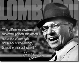 Vince Lombardi Difference Between Successful People & Others Quote Metal Sign - $20.95