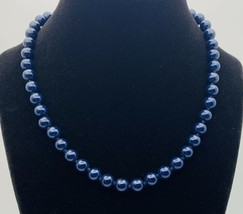 Vintage Monet Collar Necklace Round Dark Blue Lucite Beads Sister Clasp Signed - $63.36