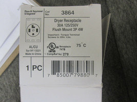2 PASS & SEYMOUR, 30A 12 3864 Dryer Receptacle Flush Mount 3P 4W, New image 2