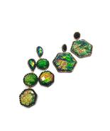 Green Earrings, Statement Earrings, Unique Earrings, Big Earrings,  - $57.00