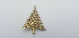 Vintage Signed Pell Gold Tone Christmas Tree W/ Stone Ornaments & Rhines... - $38.72