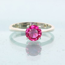 Lab Created Red Ruby Solitaire Handtooled Silver Engagement Style Ring size 6.75 - £40.49 GBP