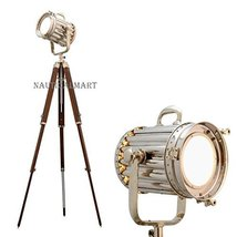 Classic Theatre Spot Light With Solid Wooden Tripod Floor Lamp By Nauticalmart - $187.11