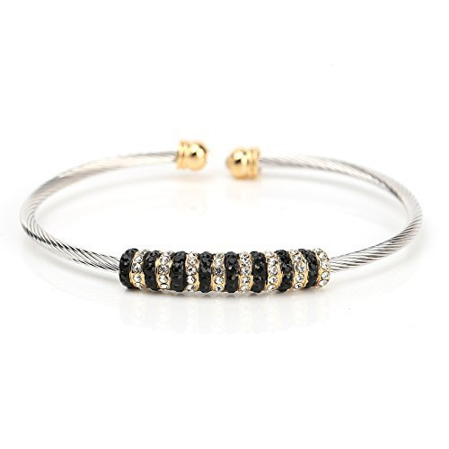 UE-Two Tone Designer Bangle Bracelet With Black & Clear Swarovski Style Crystals