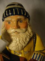 Vaillancourt Folk Art Sea Coast Santa in Yellow Slicker Holding Boat Signed image 5