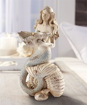 Mermaid Design Tealight Candle Holder 11.5 high Weathered look