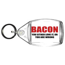bacon love or hate  keyring  handmade in uk from uk made parts, keyring, keyfob