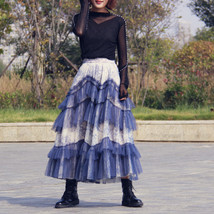 Gray Tiered Tulle Skirt Outfit High Waisted Full Plus Size Layered Tulle Skirts  image 9