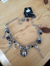 1090 Silver W/ Dark Purple Beads Necklace Set (New) - $8.58