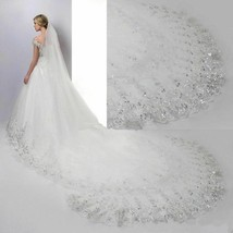 Cathedral Wedding Bridal Veil Long Lace Edge With Comb Wedding Accessories - $51.84