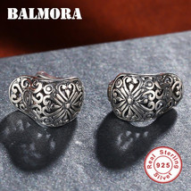 BALMORA 100% Real 925 Sterling Silver Hollow Clip Earrings for Women Par... - $42.47