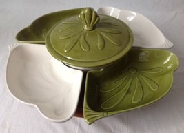 California Pottery Lazy Susan Serving Dish Art Deco Mid Century Green Wh... - $39.55