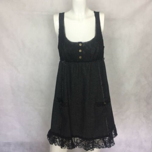 EUC FREE PEOPLE dress lace tweed gray black casual wool size 8