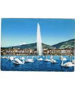 Switzerland Postcard Geneva Jet d'Eau Water Jet Mont Blanc - $3.79