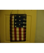 American Flag vintage design distressed tin wall hanger - $29.92