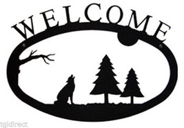 Wrought Iron Welcome Sign Timber Wolf Silhouette Large Outdoor Plaque Ho... - $36.99