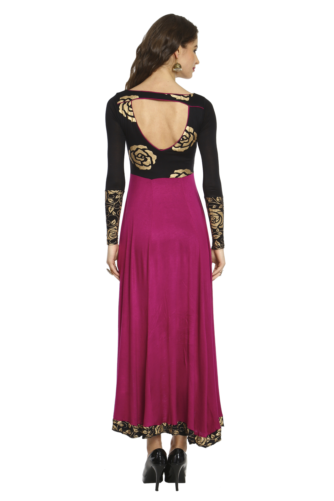 Ira Soleil knitted viscose black purple high low kurti with floral print