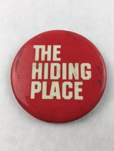 """Vintage Pinback Button Badge The Hiding Place Red 2 1/4"""" - $9.90"""