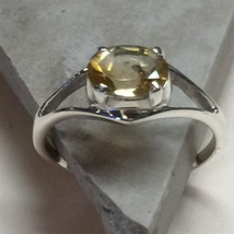 Genuine 2ct Golden Citrine 925 Solid Sterling Silver Solitaire Ring sz 8 - $39.59