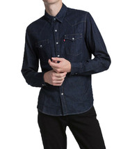 Levi's Men's Classic Barstow Western Casual Denim Dark Wash Dress Shirt