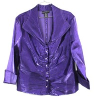 """CACHET"" WOMENS 16 XL PURPLE SHINY RHINESTONE BUTTON TOP EVENING BLOUSE ... - $34.99"