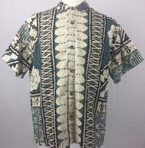 Hilo Hattie Hawaiian Shirt Mens XL Textured Tribal Print Aloha Green Tan - $24.74