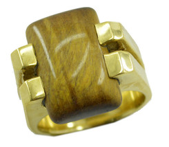 elegant Tiger Eye Gold Plated Brown Ring genuine common US gift - $20.99