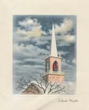 Vintage Christmas Card Church Steeple Silent Night 1950s Blue Sky With C... - $7.91