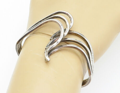 Primary image for KELLY JACK SMITH 925 Silver - Vintage Modernist Pointed Cuff Bracelet - B6103