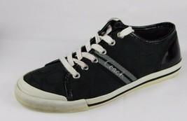 Coach women's sneaker black silver logo canvas leather size 6.5 B - $37.71