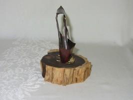 Metal Copper Patina Vtg Owl Figurine on Wood Slice Brutalist Rustic Art signed image 2