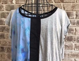 Calvin Klein Jeans Ladies Top XL Blue Steel Colorblock Cap Sleeves NWT - $38.79