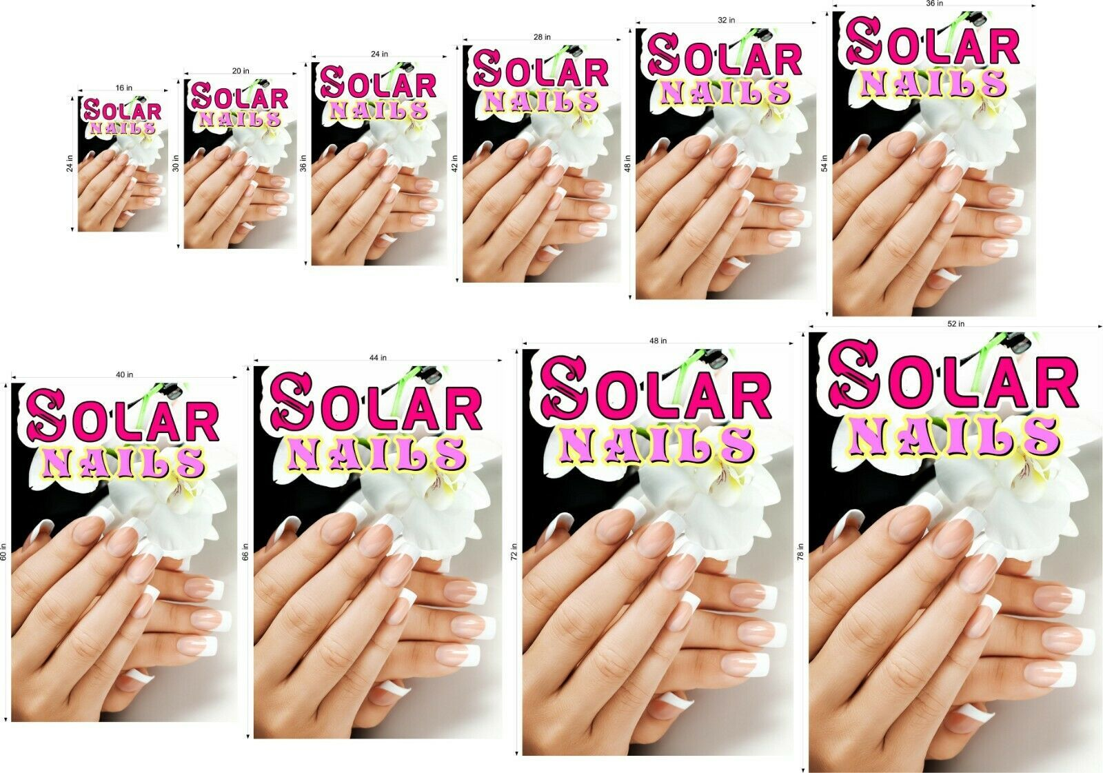 Solar VI Perforated 70/30 See Through Window Poster Manicure Nail Salon Vertical
