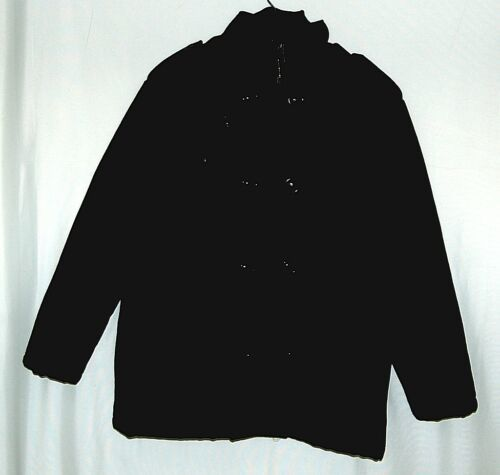 Trust MW207J Large Black Wool  Nylon zippered Peacoat Style Coat
