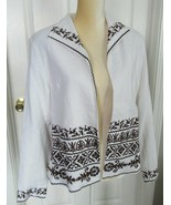 Coldwater Creek linen blend Ivory lined Open Front Embroidered Jacket Si... - $12.99