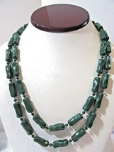 LONG TWISTED AND SMALL BEADED GREEN PLASTIC NECKLACE PRETTY VINTAGE MID ... - $29.00