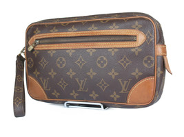 LOUIS VUITTON Marly Dragonne Monogram Canvas Leather Pochette Clutch Bag - $169.00
