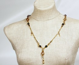 34 Inch Necklace AB Crystal Gold Dust Beads Vintage Statement - $9.13