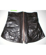 New NWT Womens 8 Leather Skirt Designer Front Zipper Black Italy 44 Coll... - $759.20