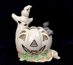 Lenox Porcelain Halloween Ghost With Black Cat Votive Candle Holder Luminaire - $18.46