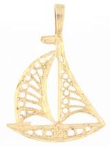 Sailboat Unisex 14kt Yellow Gold Charm - $89.00