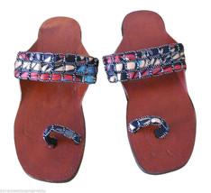 Women Slippers Ethnic Indian Handmade Lether Flip-Flops Brown US 7  - $24.99