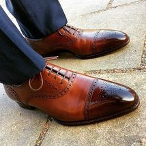 Handmade Men's Brown Leather Two Tone Brogue Style Oxford Shoes image 6