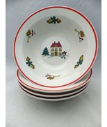 Jamestown China - The Joy of Christmas - set/lot of 4 Soup/Cereal Bowls ... - $24.70