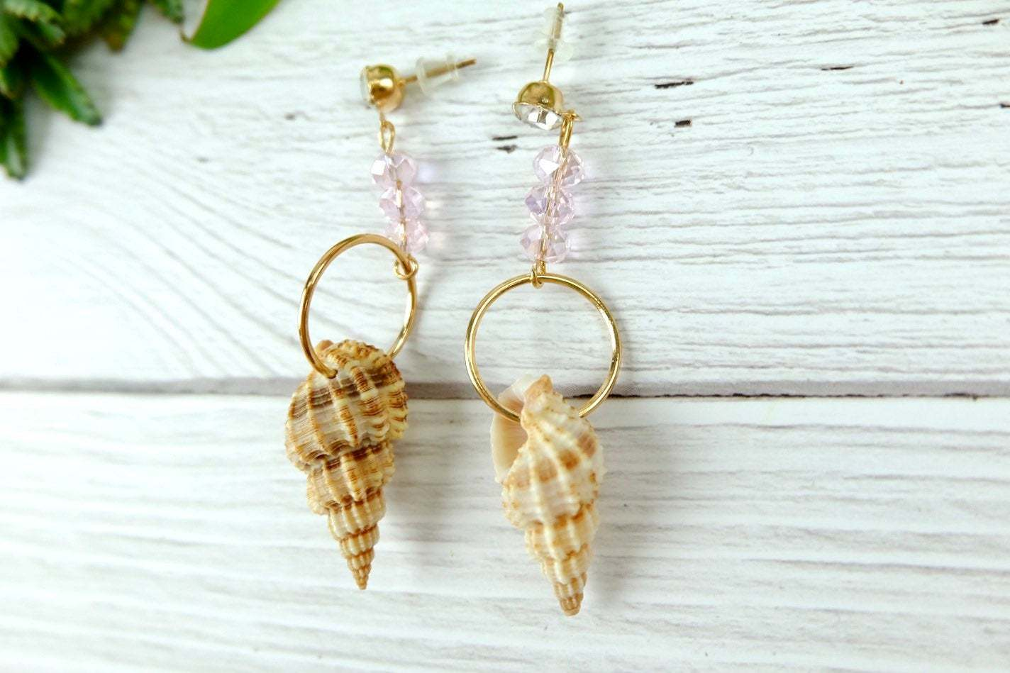 Beach Earrings, Mismatched natural Shell Dangle Earrings with Pink Crystal